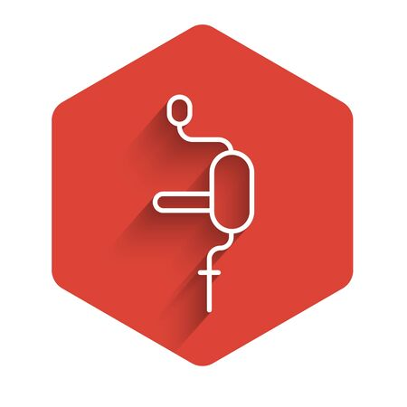 White line Hand drill icon isolated with long shadow. Red hexagon button. Vector Illustration.