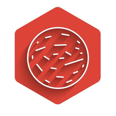 White line Planet Mars icon isolated with long shadow. Red hexagon button. Vector Illustration.