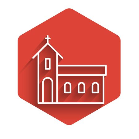 White line Church building icon isolated with long shadow. Christian Church. Religion of church. Red hexagon button. Vector Illustration