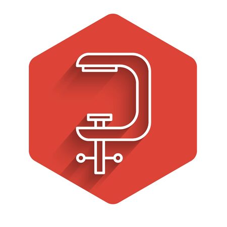 White line Clamp and screw tool icon isolated with long shadow. Locksmith tool. Red hexagon button. Vector Illustration.