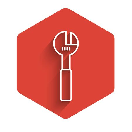 White line Adjustable wrench icon isolated with long shadow. Red hexagon button. Vector Illustration.
