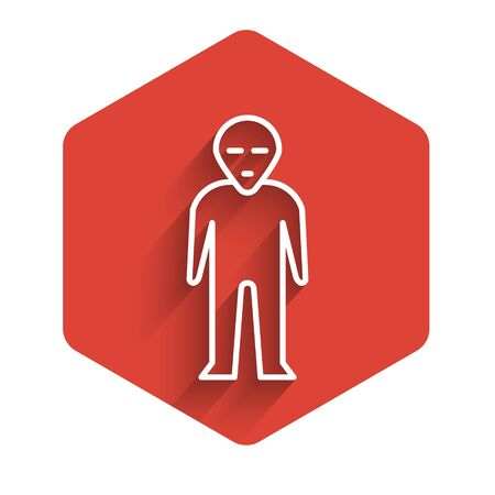 White line Alien icon isolated with long shadow. Extraterrestrial alien face or head symbol. Red hexagon button. Vector Illustration.