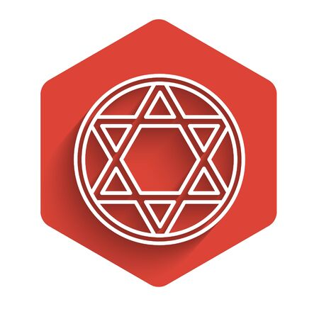 White line Star of David icon isolated with long shadow. Jewish religion symbol. Symbol of Israel. Red hexagon button. Vector Illustration.