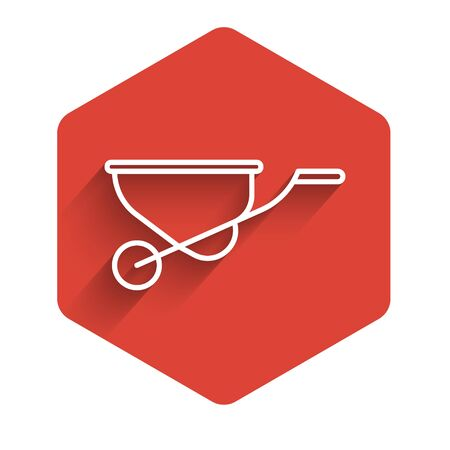 White line Wheelbarrow icon isolated with long shadow. Tool equipment. Agriculture cart wheel farm. Red hexagon button. Vector Illustration Ilustrace
