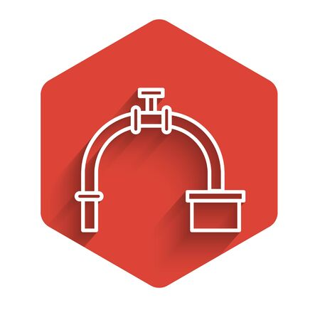 White line Industry metallic pipe and valve icon isolated with long shadow. Red hexagon button. Vector Illustration Ilustração