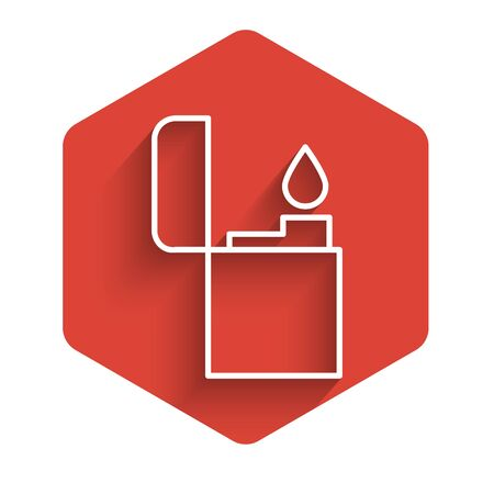 White line Lighter icon isolated with long shadow. Red hexagon button. Vector Illustration Ilustração