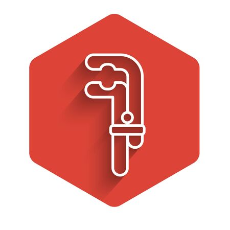 White line Clamp tool icon isolated with long shadow. Locksmith tool. Red hexagon button. Vector Illustration