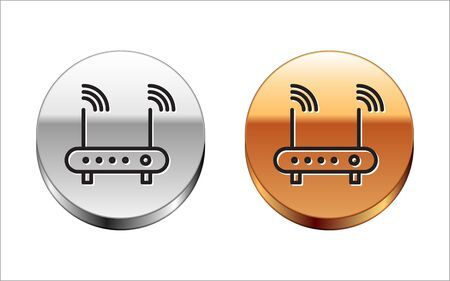 Black line Router and wifi signal symbol icon isolated on white background. Wireless modem router. Computer technology internet. Silver-gold circle button. Vector Illustration  イラスト・ベクター素材