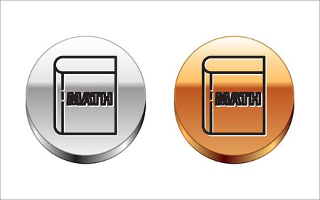 Black line Triangle math icon isolated on white background. Silver-gold circle button. Vector Illustration