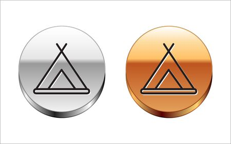 Black line Tourist tent icon isolated on white background. Camping symbol. Silver-gold circle button. Vector Illustration. 向量圖像