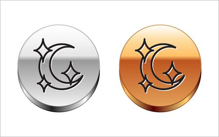 Black line Moon and stars icon isolated on white background. Silver-gold circle button. Vector Illustration