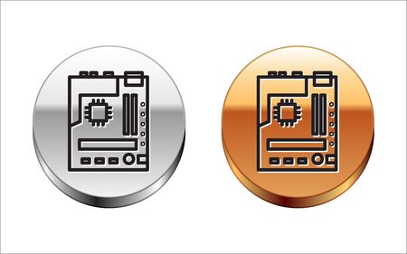 Black line Electronic computer components motherboard digital chip integrated science icon isolated on white background. Circuit board. Silver-gold circle button. Vector Illustration.