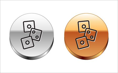 Black line Game dice icon isolated on white background. Casino gambling. Silver-gold circle button. Vector Illustration.