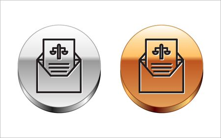 Black line Subpoena icon isolated on white background. The arrest warrant, police report, subpoena. Justice concept. Silver-gold circle button. Vector Illustration
