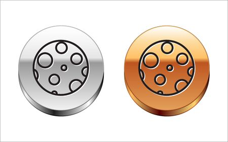 Black line Moon icon isolated on white background. Silver-gold circle button. Vector Illustration 向量圖像