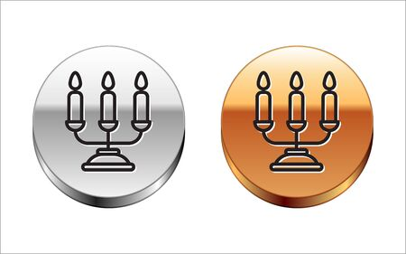 Black line Candelabrum with three candlesticks icon isolated on white background. Silver-gold circle button. Vector Illustration