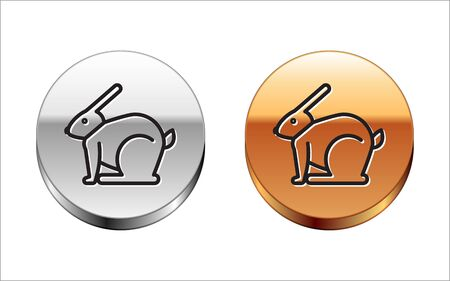 Black line Easter rabbit icon isolated on white background. Easter Bunny. Silver-gold circle button. Vector Illustration Vector Illustratie