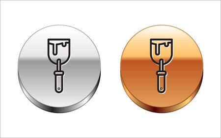 Black line Putty knife icon isolated on white background. Spatula repair tool. Spackling or paint instruments. Silver-gold circle button. Vector Illustration