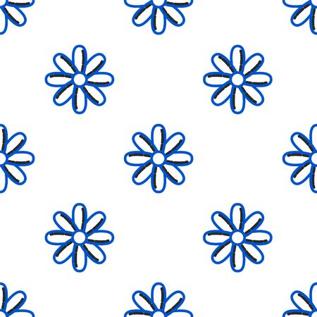 Line Flower icon isolated seamless pattern on white background. Sweet natural food. Colorful outline concept. Vector