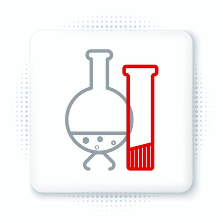 Line Test tube and flask - chemical laboratory test icon isolated on white background. Laboratory glassware sign. Colorful outline concept. Vector