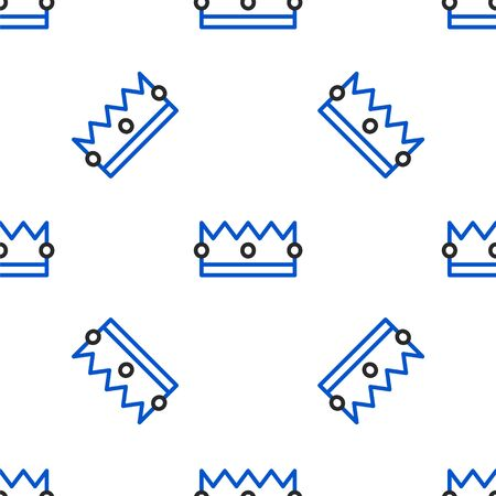 Line Crown icon isolated seamless pattern on white background. Colorful outline concept. Vector