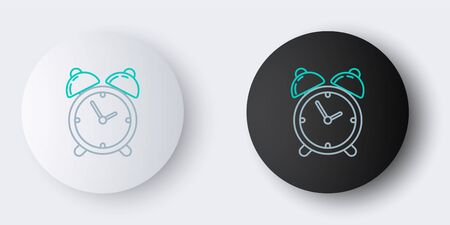 Line Alarm clock icon isolated on grey background. Wake up, get up concept. Time sign. Colorful outline concept. Vector. 向量圖像