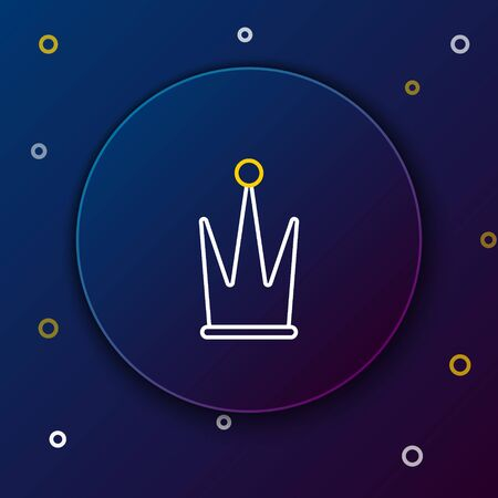 Line Crown icon isolated on blue background. Colorful outline concept. Vector Vectores