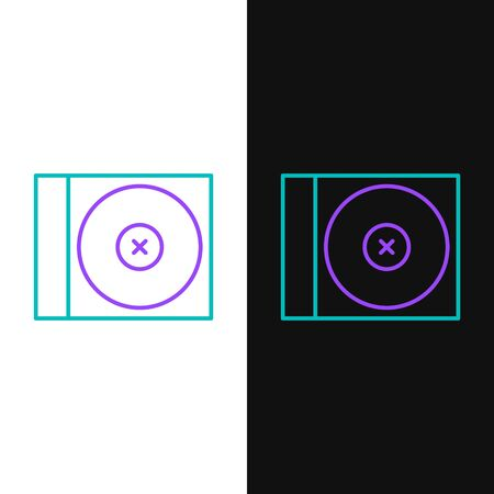 Line CD or DVD disk icon isolated on white and black background. Compact disc sign. Colorful outline concept. Vector Vettoriali