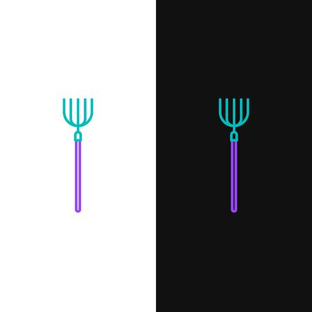 Line Garden pitchfork icon isolated on white and black background. Garden fork sign. Tool for horticulture, agriculture, farming. Colorful outline concept. Vector. Vettoriali