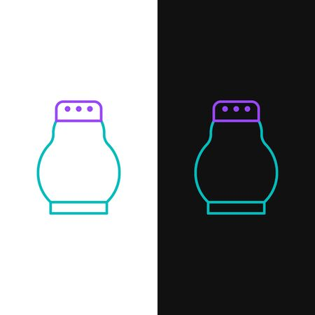 Line Salt and pepper icon isolated on white and black background. Cooking spices. Colorful outline concept. Vector