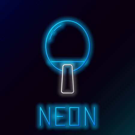 Glowing neon line Racket for playing table tennis icon isolated on black background. Colorful outline concept. Vector Vectores