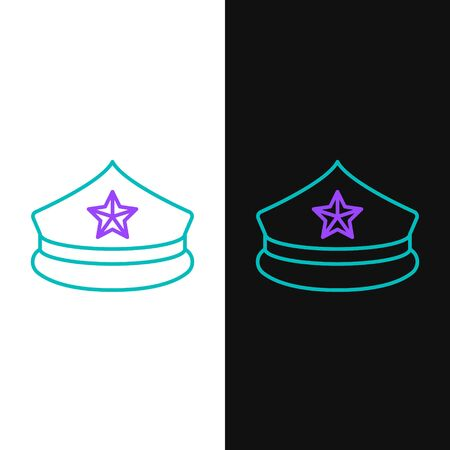 Line Police cap with cockade icon isolated on white and black background. Police hat sign. Colorful outline concept. Vector Ilustración de vector