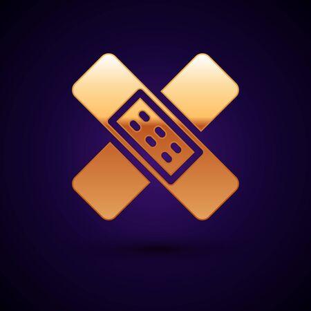 Gold Crossed bandage plaster icon isolated on black background. Medical plaster, adhesive bandage, flexible fabric bandage. Vector Illustration
