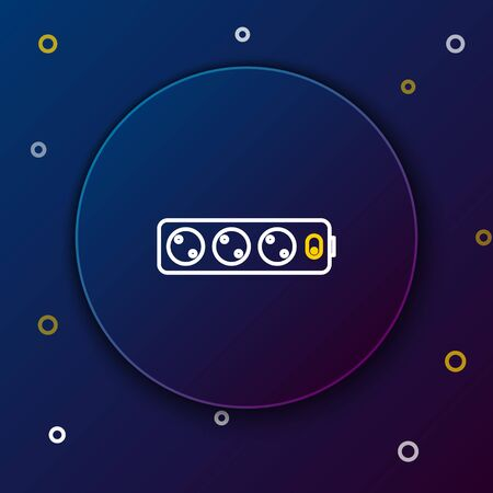 Line Electric extension cord icon isolated on blue background. Power plug socket. Colorful outline concept. Vector