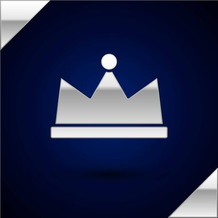 Silver Crown icon isolated on dark blue background. Vector