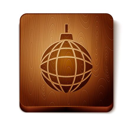Brown Disco ball icon isolated on white background. Wooden square button. Vector