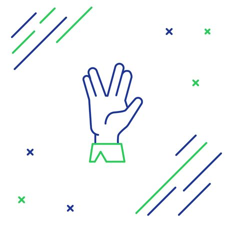 Line Vulcan salute icon isolated on white background. Hand with vulcan greet. Spock symbol. Colorful outline concept. Vector