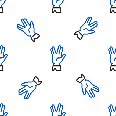 Line Vulcan salute icon isolated seamless pattern on white background. Hand with vulcan greet. Spock symbol. Colorful outline concept. Vector Vectores