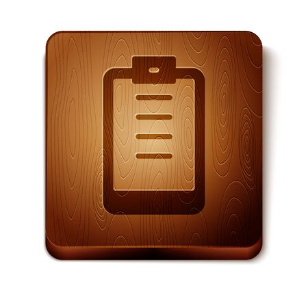 Brown Clipboard with checklist icon isolated on white background. Control list symbol. Survey poll or questionnaire feedback form. Wooden square button. Vector