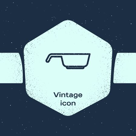 Grunge line Frying pan icon isolated on blue background. Fry or roast food symbol. Monochrome vintage drawing. Vector 向量圖像