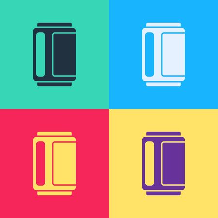 Pop art Beer can icon isolated on color background. Vector