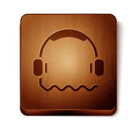 Brown Headphones icon isolated on white background. Support customer service, hotline, call center, faq, maintenance. Wooden square button. Vector Illustration