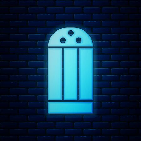Glowing neon Salt icon isolated on brick wall background. Cooking spices. Vector
