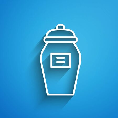 White line Funeral urn icon isolated on blue background. Cremation and burial containers, columbarium vases, jars and pots with ashes. Long shadow. Vector Vectores