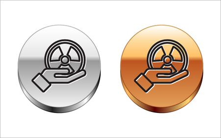 Black line Radioactive in hand icon isolated on white background. Radioactive toxic symbol. Radiation Hazard sign. Silver-gold circle button. Vector
