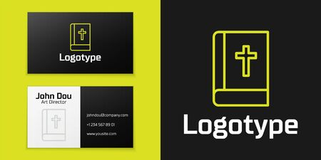 Logotype line Holy bible book icon isolated on black background. Logo design template element. Vector