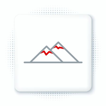 Line Mountains icon isolated on white background. Symbol of victory or success concept. Colorful outline concept. Vector Vectores