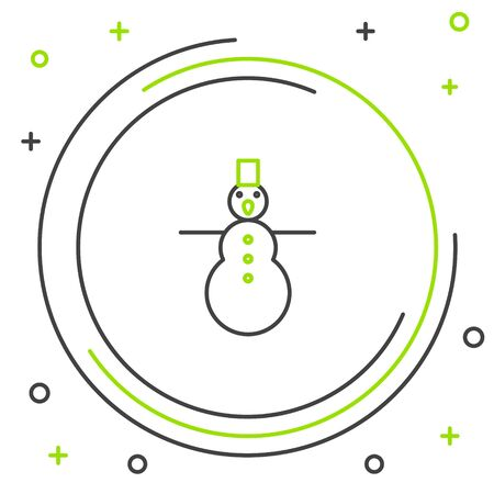 Line Christmas snowman icon isolated on white background. Merry Christmas and Happy New Year. Colorful outline concept. Vector