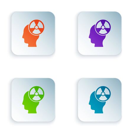 Color Silhouette of a human head and a radiation symbol icon isolated on white background. Set colorful icons in square buttons. Vector