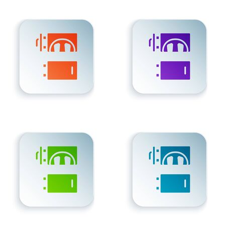 Color Crematorium icon isolated on white background. Set colorful icons in square buttons. Vector
